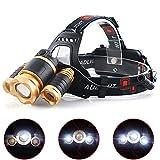 Yzki proiettore Esterno, 3LED Super Luminoso 4modalità di Funzionamento Ricaricabile Impermeabile Pesca Campeggio Caccia Escursionismo Focus Faro