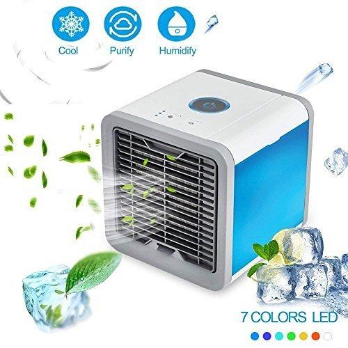 Mini aire acondicionado ventilador, USB climática dispositivo 3en 1habitación Aire enfriador, tecnología de chill Hydro, 3niveles de refrigeración–7ánimo luces, humidificador y purificador de aire portátil ventilador de mesa para Hotel, Oficina, Garaje y Casa etc