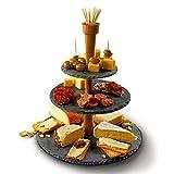 Vintage à 3niveaux pour gâteaux avec barre en bois Nourriture Cupcakes rond en ardoise avec poignée de transport