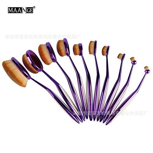 10 pzs. Pinceles de maquillaje set Cepillo de dientes sintético Super Soft Cepillo de maquillaje Set de herramientas , purple spell white
