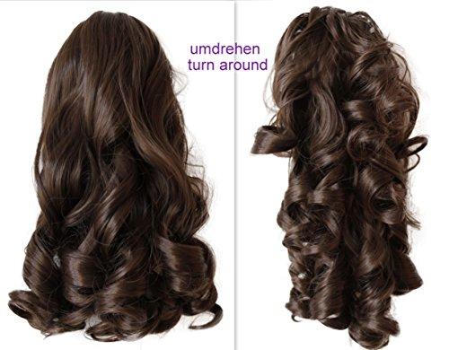 PRETTYSHOP 2 IN 1 Haarteil Pferdeschwanz Zopf Haarverlängerung Haarverdichtung ca 40cm und 50 cm braun #8 H4-2