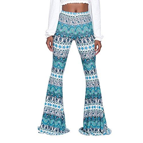 Jiayiqi Pantalones Largos Anchos De La Pierna De La Vendimia De Las Mujeres Pantalones Acampanados...