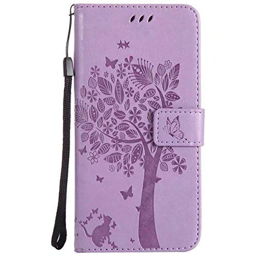 EKINHUI Case Cover Soft Premium PU Leder Notizbuch Brieftasche Fall geprägt Baum Muster Schutzhülle mit Magnetverschluss & Lanyard für iPhone 7 Plus ( Color : Rosegold ) Lavender