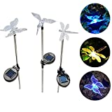 NEWNEN Solar Garden Stake Lights Multi-Color Changing Garden Decor Solar Lights Kit Hummingbird Butterfly Dragonfly Pack of 3