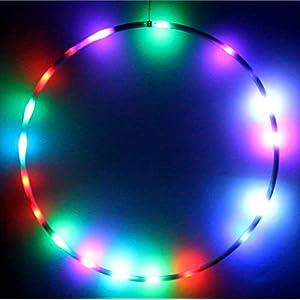 Hoopomania LED Hula Hoop mit 29 Leuchten und 7 wechselnden Farben, Durchmesser 90cm