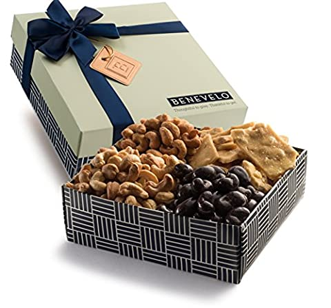 Benevelo Gifts Gourmet Hamper Gift Tray - Kosher Nut Platter with Assorted Cashews incl. Cashew Brittle, Dark Chocolate Covered Cashews & More - 680g