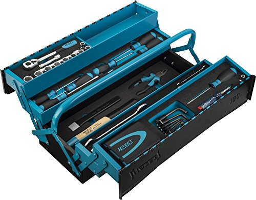 HAZET Metall-Werkzeugkoffer (mobiler Montage-Koffer, mit Profi-Sortiment, 79-teilig, mit Hammer, Umschaltknarre, Zange, Vorhängeschloss, hochwertige Materialien) 190/79
