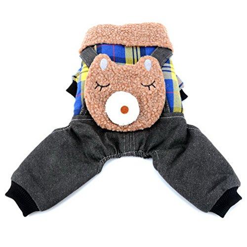 smalllee _ Lucky _ store Hund Vier bein Jumpsuit Plaid Sweatshirt PUPPY Cat Outfit Furry Halsband Mantel Bär Haustier Kostüme für Chihuahua, Shih Tzu, Yorkshire (Shih Tzu Bär Kostüm)