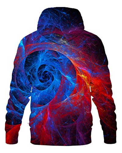 LAIDIPAS Unisex Realistische 3D Galaxy bedruckte große Taschen Drawstring Pullover Hoodie Kapuzen Sweatshirt Style 2