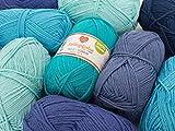 myboshi Wollpaket Blue Lagoon Wolle zum Häkeln oder Stricken in Blautönen inkl. 1 Knäuel GRATIS