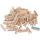 ULTNICE 50pcs 2,5 cm Mini madera primavera ropa pines clavijas papel foto Memo Clips artesanía decoración