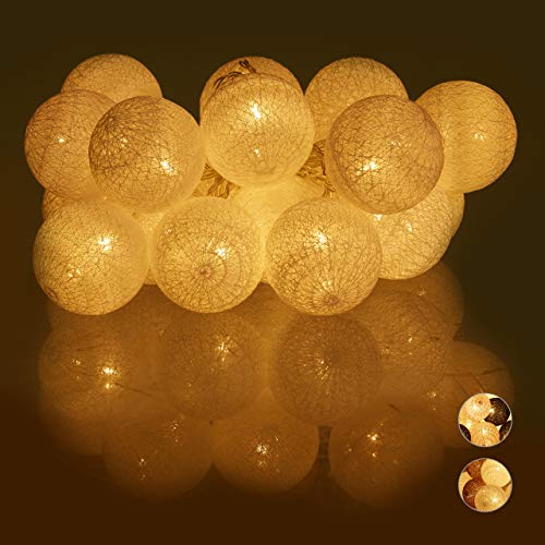 Relaxdays LED Lichterkette mit 20 Baumwollkugeln, batteriebetrieben, Schalter, Stimmungslichter, Kugeln 6 cm Ø, weiß