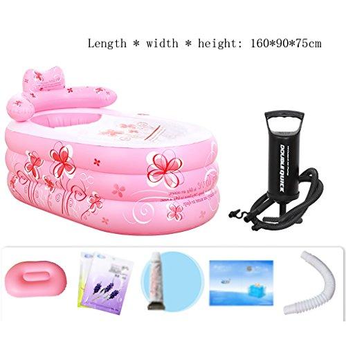 Yugang aufblasbare wanne Aufblasbare Badewanne Erwachsenen Portable Faltbare PVC Spawanne mit Luftpumpe Badesets für unterwegs faltbar Badewanne für Babys (Farbe : A, größe : 160 * 90 * 75cm)