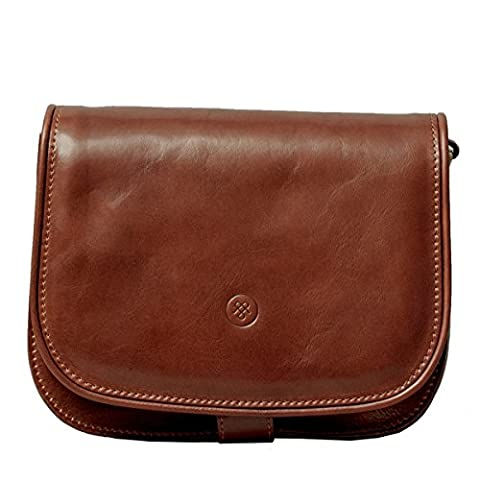 Maxwell Scott® Luxury Italian Leather Women's Saddlebag Purse - Large (MedollaL), Classic Tan
