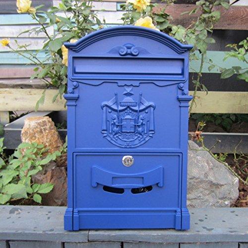 CJH Mediterrane Blau Cast Aluminium Buchstaben Zeitung Mailbox Antik Wandbehang Briefkasten Outdoor Regen Beweis Postfach