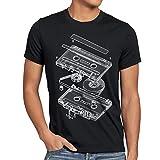 style3 DJ Tape Herren T-Shirt kassette 3D turntable retro, Größe:XXL;Farbe:Schwarz