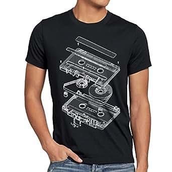 style3 DJ Tape Mens T-Shirt turntable 3D mc, Size:S;Color:Black