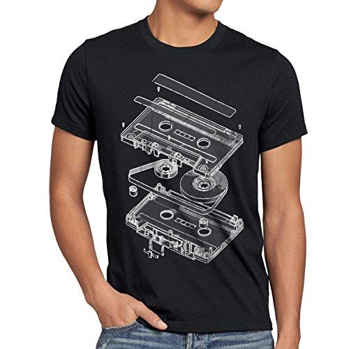 style3 DJ Tape Camiseta para hombre T-Shirt turntable 3D mc, Talla:S, Color:Negro