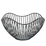 ZYJ Metalldraht Obstbehälter Abtropfbrett Moderne Küchenarbeitsplatte Große Runde Schwarz Ablagekorb Gesicht Tasse Und Dekorative Gegenstände 10 Zoll (Kurve)