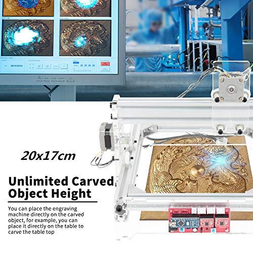 HUKOER Kit de bricolaje de máquina de grabado láser de 20 x 17 cm, instrumento de talla Kits de grabado láser CNC Cortador de madera de escritorio para madera, plástico, papel, cuero (2500mW)