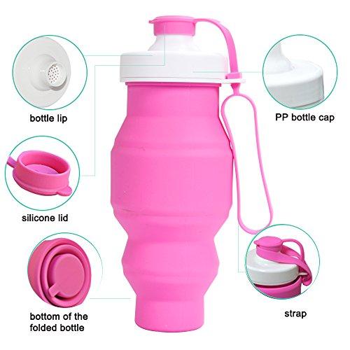 Sidiou Group Protein Fitness-Shaker BPA frei faltbare Outdoor-Reisen Silikon Wasserflasche für Sport 520ml verschiedene Farben (blau) rosa