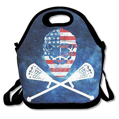 ziHeadwear Funny Lacrosse Helmet Crossed Sticks Waterproof Lunch Tote Bag Insulated Reusable Picnic Lunch Boxes for Men Women Kids