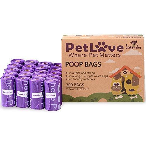 PetLoft 300-count Langlebig biologisch abbaubar Hundekotbeutel Umweltfreundlich, Lemon-Scented Hundekotbeutel Tasche mit Epi-Technology (15Beutel/Rolle, 20Rollen) (Violett, Lavendel) (300 Count Tasche)