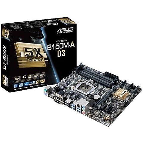 ASUS B150M-A D3 - Placa base Micro-ATX (64 GB, DIMM, 4 x DDR3, 2 x USB 3.0, SATA 6 GB/s)