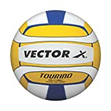 Vector X VOLLEYBALL-Tourino-18P Rubber Volleyball, Size 4 (Yellow/Blue)