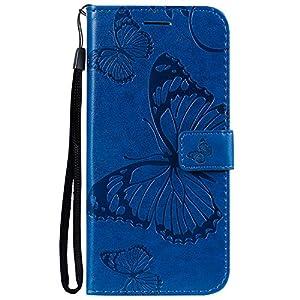 Lomogo Huawei P Smart+ 2019 Hülle Leder, Schutzhülle Brieftasche mit Kartenfach Klappbar Magnetverschluss Stoßfest Kratzfest Handyhülle Case für Huawei P Smart Plus 2019 – LOBFE150323 Blau