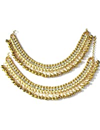Shree Mauli Creation Golden Alloy Golden Ghungaru Stone Anklet For Women SMCA62