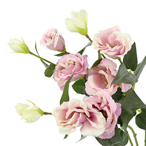 WEWILL Fake Blumen Pfingstrose Elegantes Künstliche Seide Bouquet Deko für Wohnzimmer, Esszimmer und Hochzeit Aufsteller Eustoma China Spring Bouquet