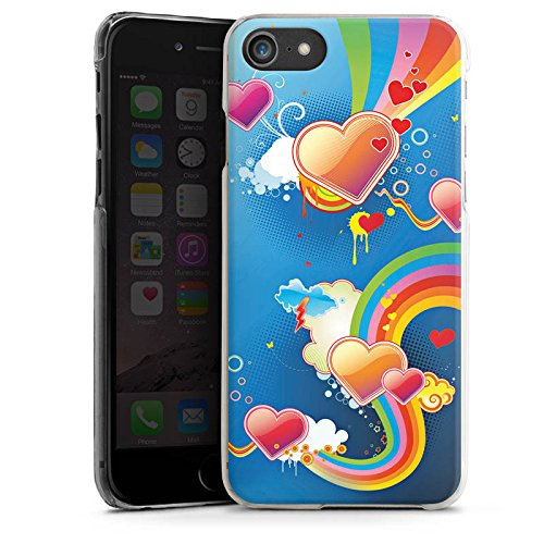 Apple iPhone X Silikon Hülle Case Schutzhülle Herz Love Regenbogen Bunt Hard Case transparent
