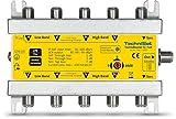 TechniSat TechniRouter 5/1 x 4 digitale Einkabellösung für 4 Teilnehmer silber/gelb (4 Signale über ein Kabel, Unicable)