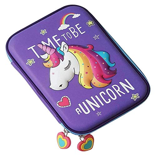 Aysis Premium Stylish Unicorn Digital Print Large Capacity Hardtop EVA Pencil Case Organizer School Kids Boys Girls Women Pen Holder Pouch Multipurpose-Baby Toys (HoursePurple)
