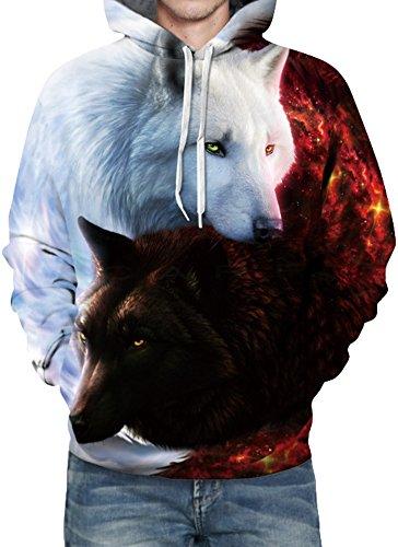 EmilyLe Herren 3D Druck Kapuzenpullover Tier Kosmos Cartoon Sweatshirt  Weihnachten Langarm Top Herbst Spaß Hoodie Rotweiß Wolf
