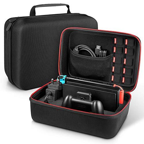 Nintendo Switch Tasche - Younik Deluxe harte Schalle Hülle für die Nintendo Switch Konsolle, Switch Dock, Netzteil, HDMI Kabel, Pro Kontrolleur und 10 Spiele -