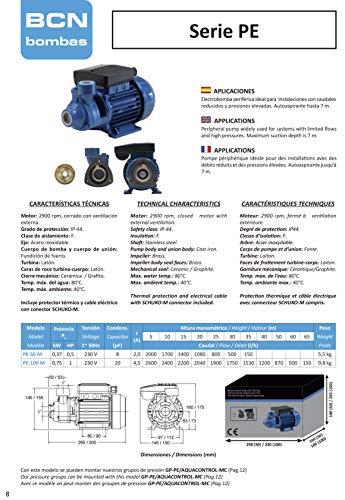 BCN bombas - Bomba de agua periférica pe-50 m