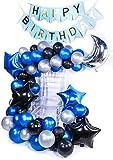 PuTwo Palloncini 55 Pezzi Palloncini Compleanno 12 Pollici Palloncini Lattice & 18 Pollici Palloncini Foglio Palloncini Festa Decorazioni per Compleanno Battesimo - Blu & Nero & Argento
