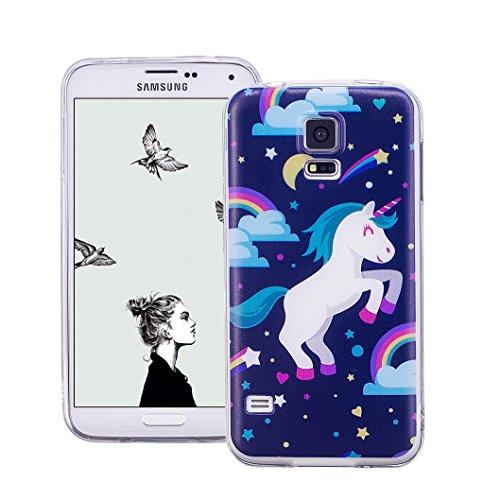 Wanxideng Funda Sansung Galaxy S5, Carcasa Transparente Suave Funda de Silicona TPU - Transparent Soft Case Cover de Cristal Brillo con Patrón Creativo - unicornio arcoiris