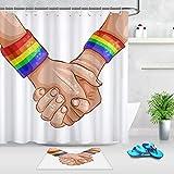 vrupi Hand in Hand Regenbogen Armband Muster Duschvorhang Set Bad Stoff Duschvorhang 71 * 71 Zoll...