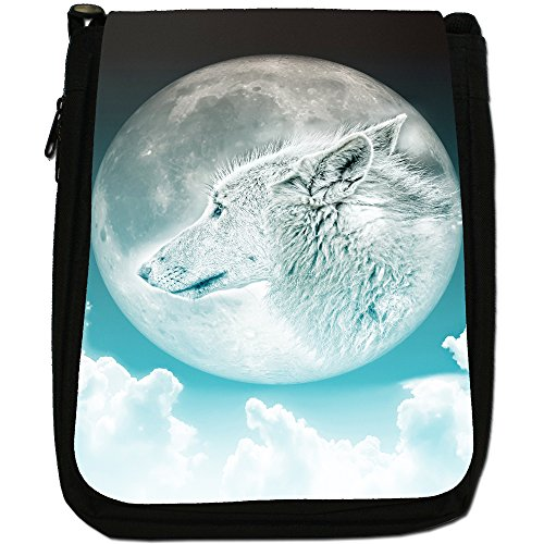 Lupo e luna Medium Nero Borsa In Tela, taglia M Moonlight Wolf - Turquoise