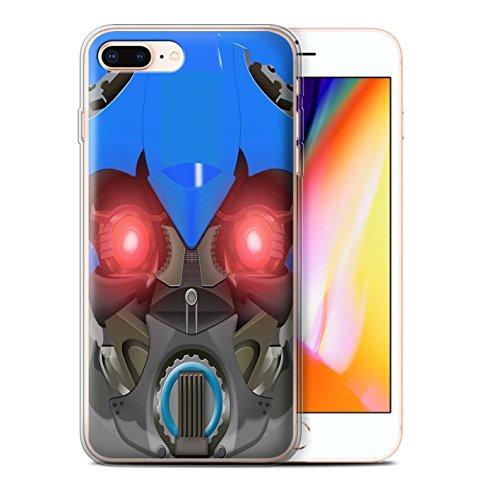 Stuff4 Gel TPU Hülle / Case für Apple iPhone 8 Plus / Mega-Bot Blau Muster / Roboter Kollektion Bumble-Bot Blau