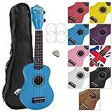 Tiger UKE7 Soprano Ukulele for Beginners Includes Gig Bag, Felt Pick, Spare Set of Strings, Blue