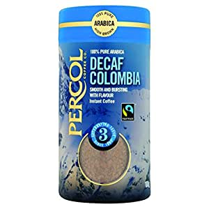 Percol Fairtrade Decaffeinated Colombia Instant Coffee 100g (Pack of 6)