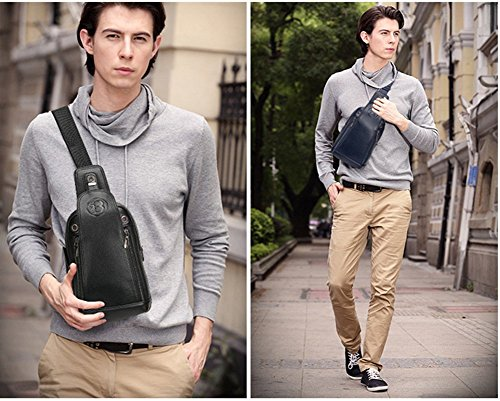 YAGGLE 2-teilig Leder Tasche Outdoor Military Messenger Schultertasche mit Geldbörse Reisezubehör Body Bag Sack blau