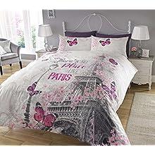 Sleepdown New Paris Romance Duvet Cover & Pillowcase Set Bedding Digital Print Quilt Case Bedding Bedroom Daybed (Double)