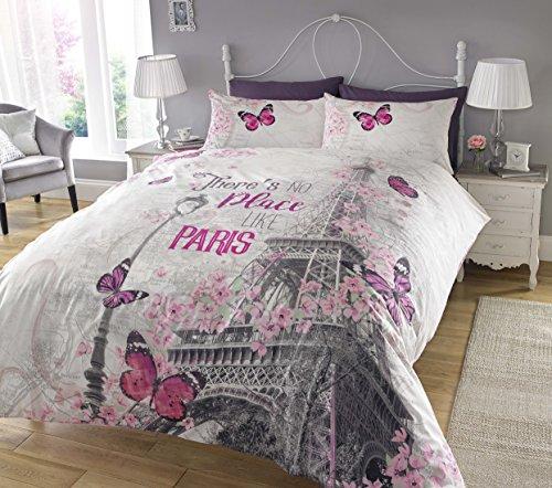 Pieridae Paris Romance - Juego de fundas de edredón y almohadas, Impresión digital, tamaño individual, matrimonio o king size, Gris, matrimonio