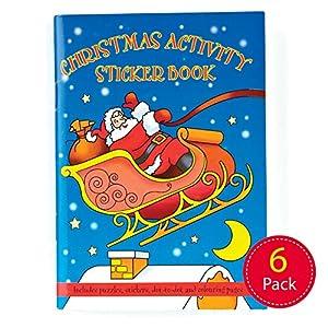 Baker Ross Z1362 - Juego de 6 Mini Pegatinas navideñas para Colorear, Rellenar Libros de Rompecabezas