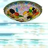 LED-Deckenlampe Tiffany Stil Bunt Glas Kronleuchter 24W Bunte Glas Lampe Gang Korridor Balkon Wohnzimmer Esszimmer Deckenlampe (30Cm * 9Cm)